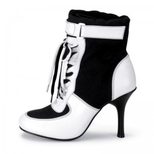 Harley Quinn Black&White Lace Up Heels Ankle Boots for Halloween