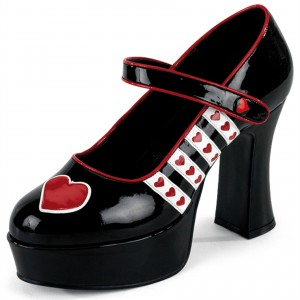 Harley Quinn Black Mary Jane Heart Platform Chunky Heels Pumps for Halloween