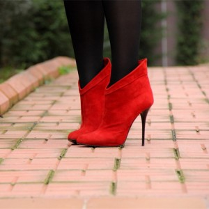 Red Suede Stiletto Boots Closed Toe High Heel Ankle Booties