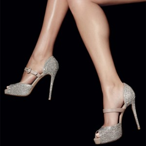 Nude Prom Shoes Peep Toe Strass Stiletto Heel Pumps