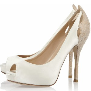 White Wedding Shoes Hollow out Peep Toe Heels Stilettos Platform Pumps