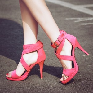Women's Red Ankle Strap Sandals Open Toe Cone Heel Shoes