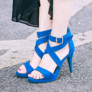 Women's Blue Ankle Strap Sandals Open Toe Cone Heel Shoes