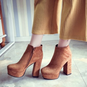 Tan Boots Suede Side Zipper Platform Chunky Heel Short Ankle Boots