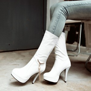 Women's White Stiletto Heels Mid Calf Boots with Platform