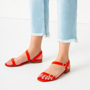 Orange Open Toe Slingback shoes Comfortable Flats Summer Sandals