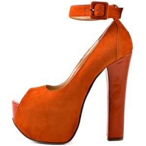 Women's Orange Ankle strap Platform Pumps Peep Toe High Heels