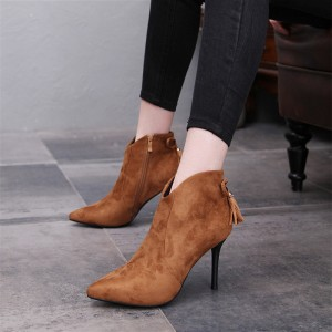 Women's  Brown Tassels Fringe Stiletto Heels Pointy Toe Ankle Boots
