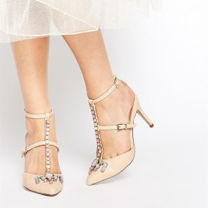Beige T Strap Stiletto Heels Cute-Adorable Pumps With Rhinestone