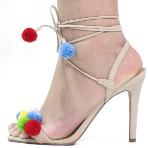 Beige Pom Pom Shoes Ankle Wrap Strappy Stiletto Heel Sandals