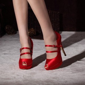 Women's Coral Red Almond Toe Mary Jane Shoes Stiletto Heels Pumps For Wedding