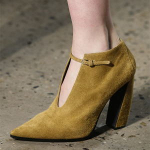 Dark Mustard Vintage Shoes Pointy Toe Chunky Heel Suede Ankle Boots