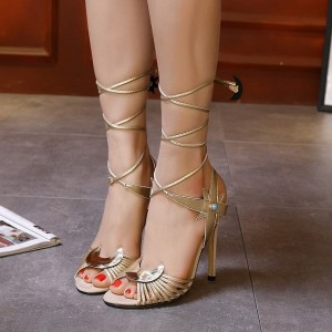 Women's Cute Golden Strappy Sandals Lace Up Peep Toe Stiletto Heels