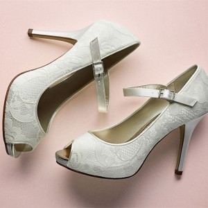 Ivory Bridal Shoes Lace Heels Peep Toe Mary Jane Pumps for Wedding