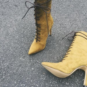 Women's Yellow Pointed Toe Stiletto Heels Lace-up Elegant Ankle Boots