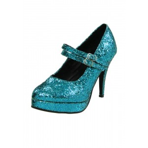 Women's Cute Blue Stiletto Heel Platform Pumps Glitter Mary Jane Shoes