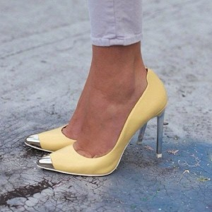 Yellow Stiletto Heels Pointy Toe Metal Heels Dress Shoes for Women