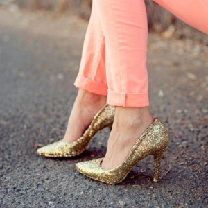 Women's Golden Pointed toe Glitter Stiletto Heel Pumps