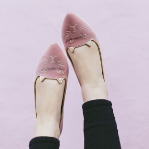 Women's Pink Pointed toe Comfortable Flats Pumps