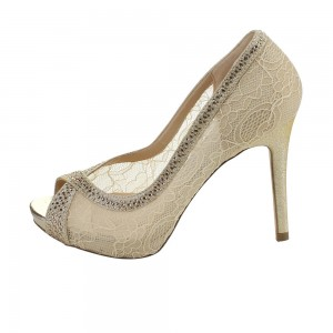 Ivory Bridal Shoes Lace Heels Peep Toe Rhinstone Pumps