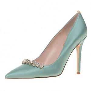 Turquoise Rhinestone Heels Satin Pumps Pointy Toe Wedding Shoes
