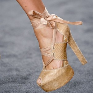 Women's Nude Platform Strappy Peep Toe Ankle strap Heel Shoes