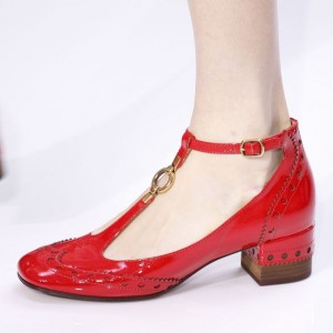 Red T Strap Shoes Patent Leather Chunky Heel Vintage Pumps