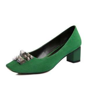 Women's Green Chunky Heels Metal Decorated Suede Pumps