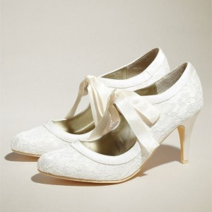 Women's Wedding Shoes White Lace Ribbon Mary Jane Pumps
