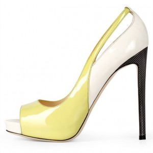 Women's Yellow and White Peep Toe Heels Stilettos Platform Pumps