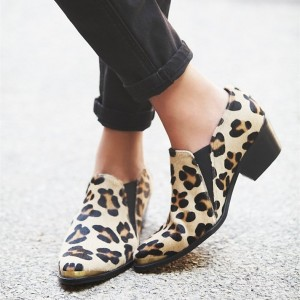 Women's Leopard Print Boot Slip-on Chunky Heel Shoes
