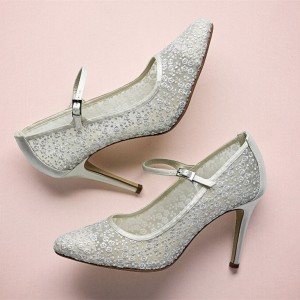 Silver Bridal Shoes Lace Heels Mary Jane Pumps for Wedding