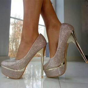 Women's Champagne Glitter Shoes Platform Stiletto Heel Pumps