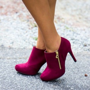 Dark Magenta Stiletto Boots Suede Heeled Ankle Boots