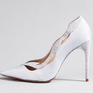 Women's White Glitter Shoes Curve Stiletto Heel Pumps