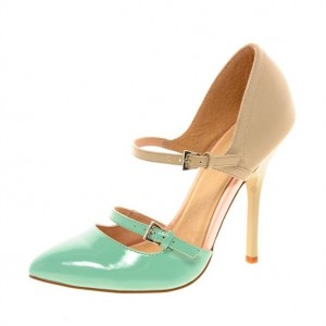 Women's Nude green Double Mary Jane Shoes Patent Leather Stiletto Heels Pumps