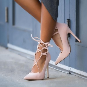 Women's Blush Strappy Heels Pointy Toe Lace up Suede  Stiletto Pumps