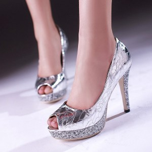 Women's Platform Heels Silver Metal Glitter Peep Toe Stiletto Pumps