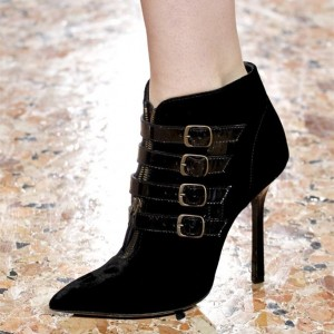 Women's Black Buckles Stiletto Heels Pointy Toe Ankle Boots