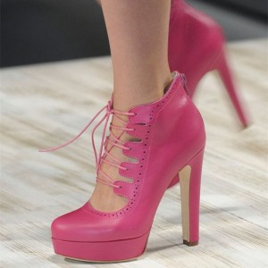 Pink Lace up Heels Platform Chunky Heel Pumps for Women