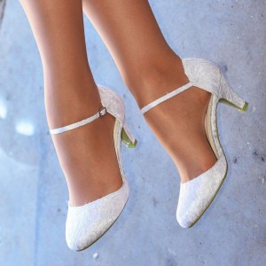 White Bridal Shoes Lace Heels Round Toe Kitten Heel Pumps