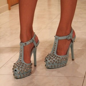 Light Blue T Strap Sandals Platform Stiletto Heel Rivets Sexy Shoes
