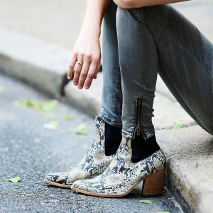 Green Snakeskin Booties Pointy Toe Wooden Block Heel Ankle Boots