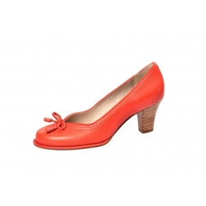 Orange Vintage Heels Square Toe Retro Chunky Heel Pumps