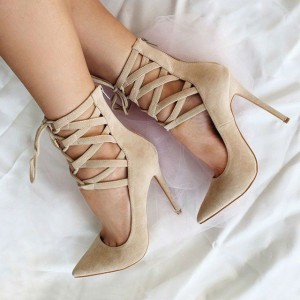 Women's Beige Strappy Heels Pointy Toe Stiletto Heel Pumps