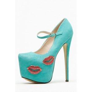 Turquoise Rhinestones Mary Jane Pumps Platform High Heel Shoes