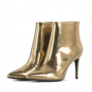 Gold Stiletto Boots Mirror Leather Pointy Toe Heeled Ankle Boots