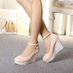 Pink Closed Toe Wedges Platform Ankle Strap Pumps