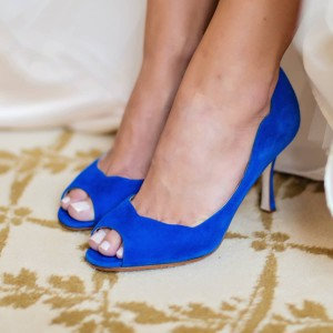 Women's Fashion Royal Blue Peep Toe Heels Suede Stiletto Heels Pumps