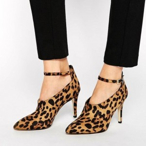 Fashion Leopard Print Boots Suede Stiletto Heels Ankle strap Pumps